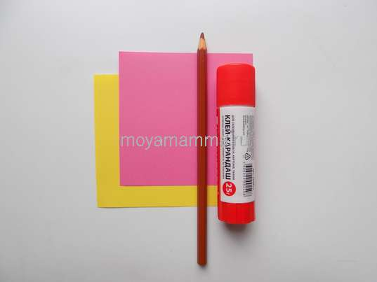 Цветная бумага, карандаш, клей