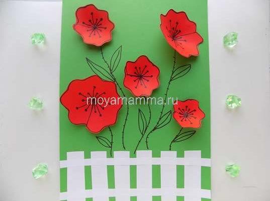 аппликация цветы в саду