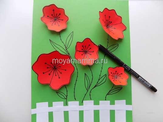 аппликация цветы в садуРисование стеблей и листочков