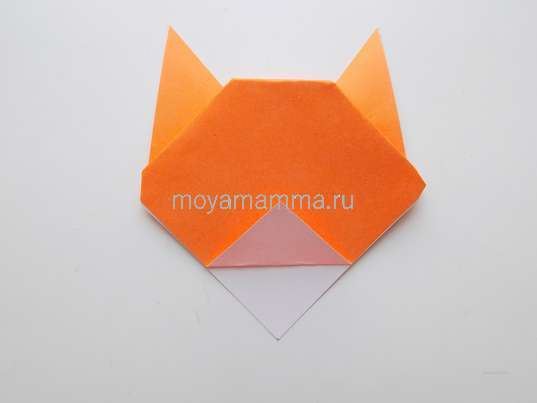 Тигр оригами. Отгибание верхнего слоя уголка