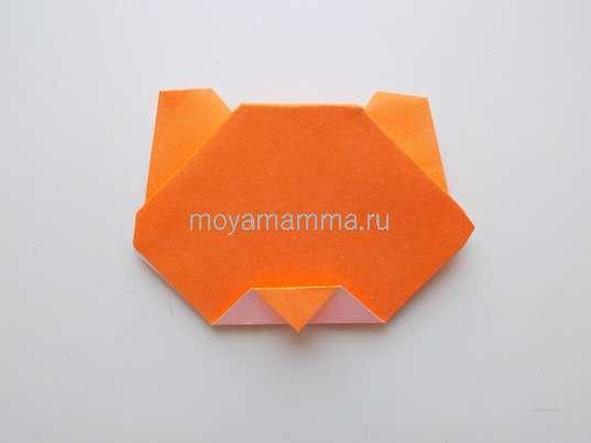 Тигр оригами. Формирование ушек