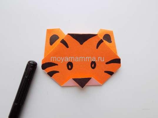 Тигр оригами. Рисование мордочки