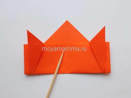 Летающая тарелка оригами. Переворачивание заготовки на другую сторону