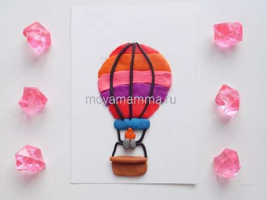 Аппликация «Воздушный шар» из пластилина