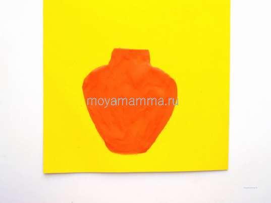 Осенние поделки. Оранжевая ваза на картонной заготовке