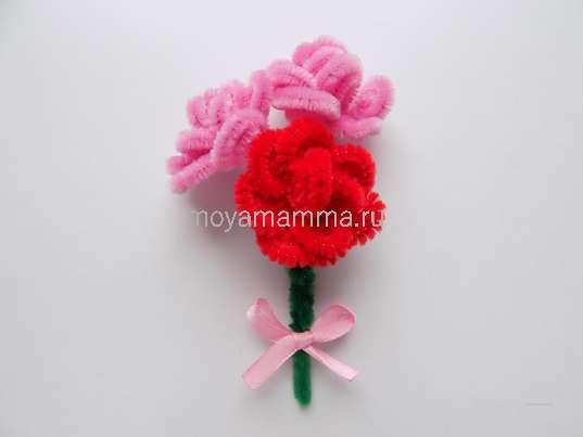 Букет роз из синельной проволоки