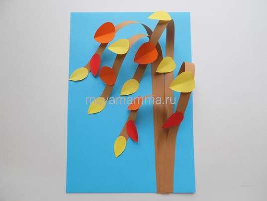 поделки на тему осеньПриклеивание листочков из красной бумаги